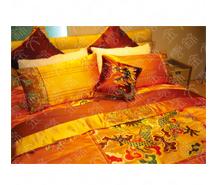 黄色云锦大龙纹床上用品七件套