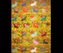 黄地兔衔灵芝长寿富贵纹织金妆花缎